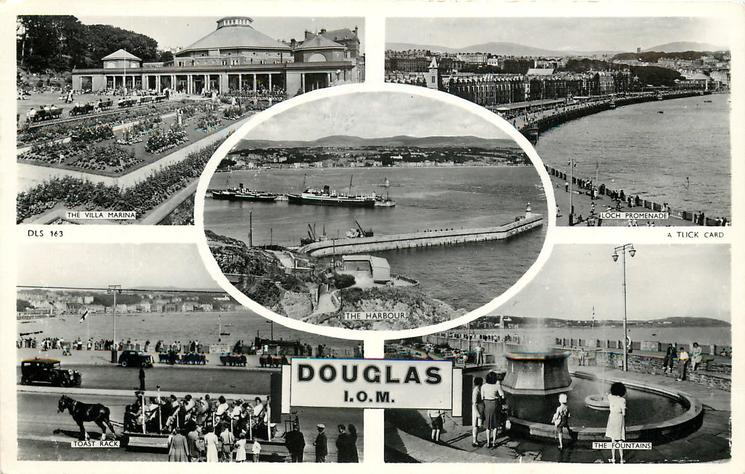 5 insets  THE VILLA MARINA/ LOCH PROMENADE/THE  HARBOUR/ TOAST RACK/THE FOUNTAIN