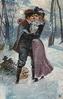 couple kissing in snow scene