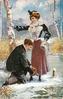 man kneeling in snow, adjusts skate of standing lady