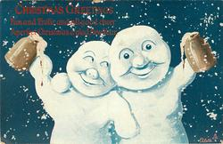 two snow men with arms round each other, hold tankards