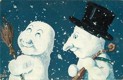 two snow men, one with top hat follows the other who carries a broom