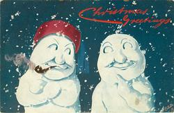 two snow men, one with red hat with blue tassel & pipe, each look sideways at the other