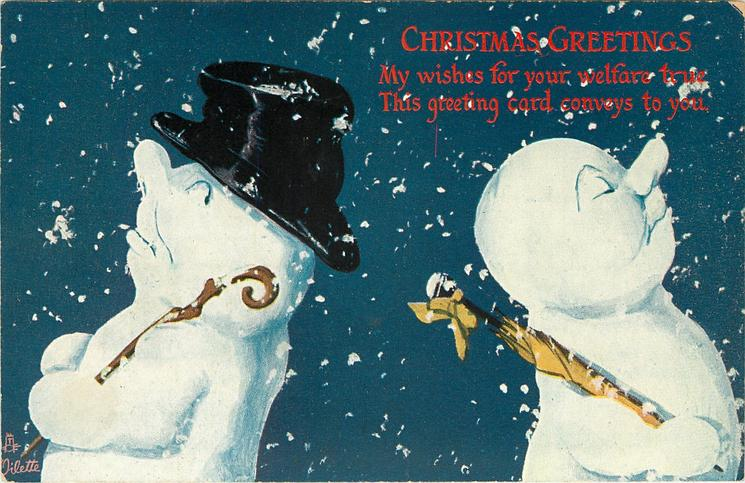 two snow men, one with top hat, back to back