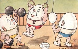 EGG-CELLENT EGG-CERCISES  three egg-men in gym