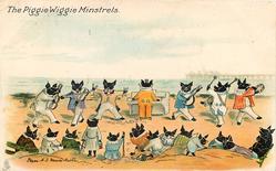 THE PIGGIE WIGGIE MINSTRELS  seven pig minstrels perform on sands before pig audience