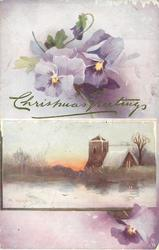 snowy church across lake, pansies at base of card