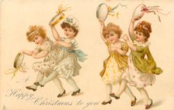 A HAPPY CHRISTMAS TO YOU  four girls dance left playing tambourines