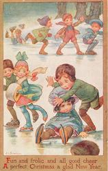 FUN AND FROLIC AND ALL GOOD CHEER, A PERFECT CHRISTMAS, A GLAD NEW YEAR, children skate