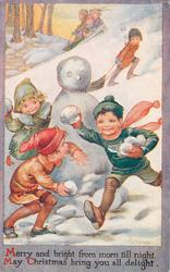 MERRY AND BRIGHT FROM MORN TILL NIGHT...children playing in snow, snowman