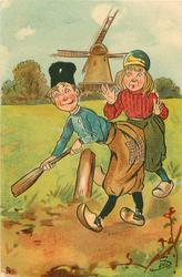 Dutch boy & girl playing cricket, with oar as bat