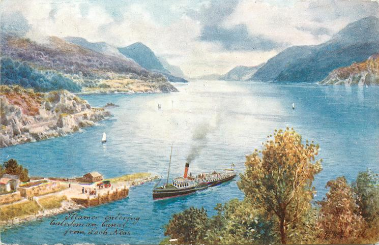 STEAMER ENTERING CALEDONIAN CANAL FROM LOCH NESS