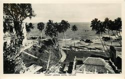 view from hotel showing terraces & sea