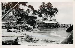 close view of  hotel from beach