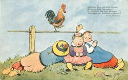 three Dutch  children,asleep on the ground, cock walks right along fence rail above