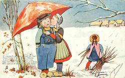 three Dutch children, girl kisses boy under umbrella, small girl walks away with firewood, snow scene