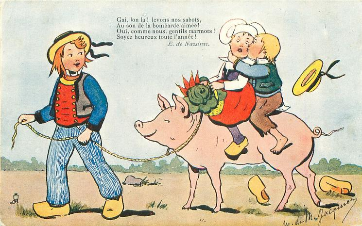 Dutch boy leads pig carrying two children left, boy kisses unhappy girl, hat & shoes fly