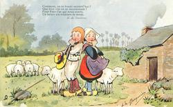 Dutch boy & girl stand back to back, each has thumb in mouth, sheep around