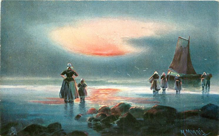 Dutch ocean landing scene, woman & girl ashore left, five in water in front of boat right