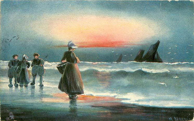Dutch sea shore,  two men & two women left, boats on horizon