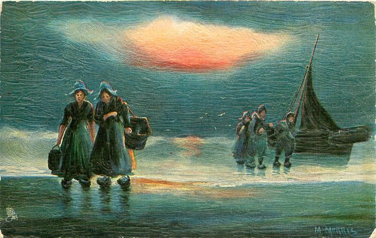 Dutch sea landing scene, two woman come ashore left, three follow in water, boat right