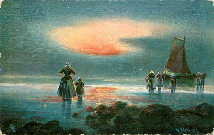 Dutch sea landing scene, woman & girl ashore left, five in water in front of boat right