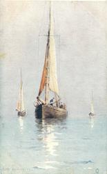 three sailboats in calm water, three men visible in large centre boat