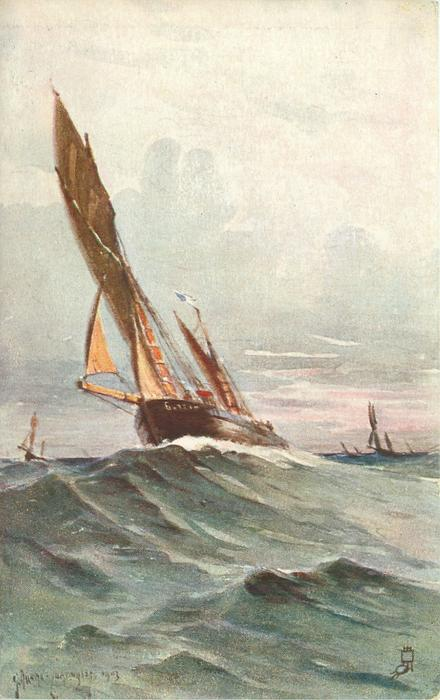 one large sailboat  in heavy seas, others in far distance