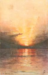 sunset scene on open water, sun very visible as it sets