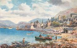 FORT WILLIAM (people & rowboats in foreground, town to right)