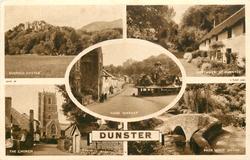 5 insets  DUNSTER CASTLE/COTTAGES AT DUNSTER/YARN MARKET/ THE CHURCH/PACK HORSE BRIDGE