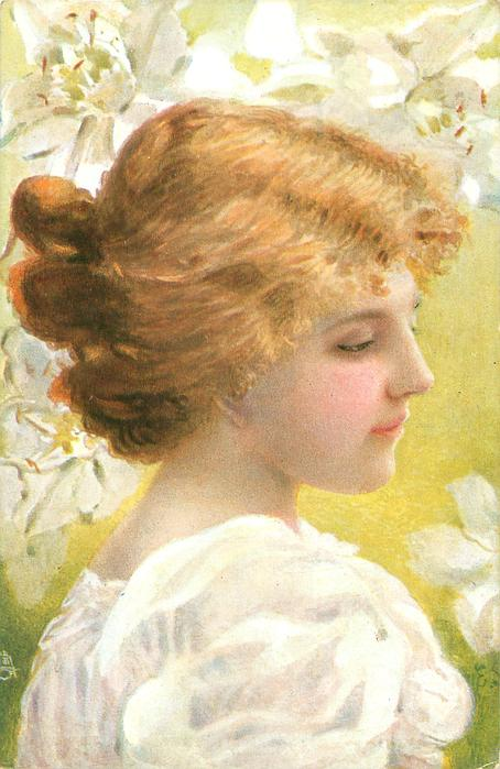 girl with golden hair, faces & looks right, white daffodils in background