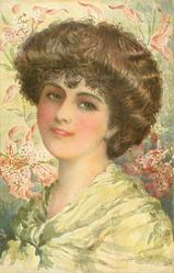 girl with brown hair, faces mostly left, looks front/right, tiger lilies in background