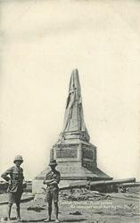 TURKISH OBELISK. BUILT BEFORE RE-OCCUPATION OF KUT BY THE BRITISH  two soldiers
