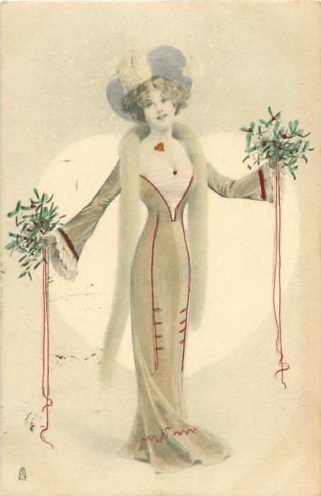 girl standing facing front holding mistletoe amp ribbons in