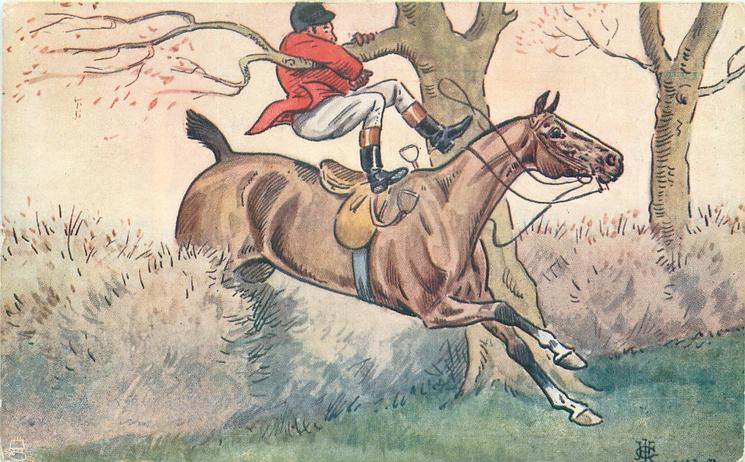 man swept from his saddle by tree branch
