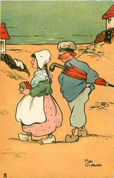 Dutch boy with closed umbrella following Dutch girl with books