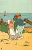 small Dutch girl with furled umbrella, Dutch boy with doll