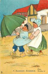 A SUDDEN SHOWER Dutch boy with umbrella, in wind, Dutch girl clutching his shirt