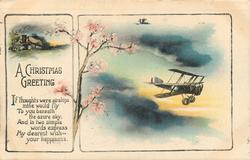 A CHRISTMAS GREETING verse left, cherry blossoms middle, airplane right