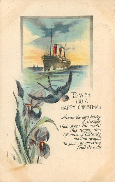 TO WISH YOU A HAPPY CHRISTMAS   purple irises  and a swallow below steamer insert