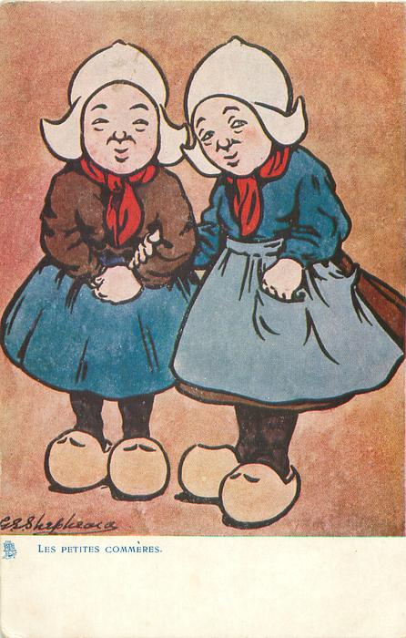 LES PETITES COMMERES  two girls stand side by side facing front