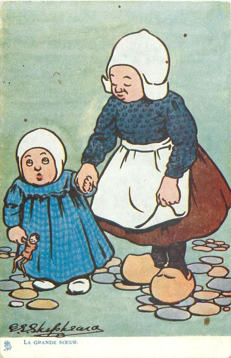 LA GRANDE SOEUR  two girls stand holding hands, youngest holds small doll