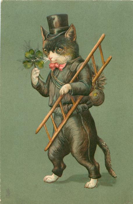 chimney sweep cat in black, carries ladder & 4 leaf clover