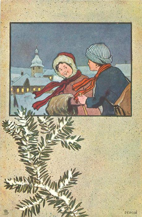 inset of night winter scene, boy & girl in snow, lighted village behind left, snow on evergreen below
