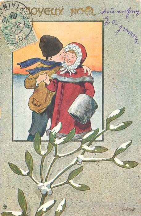 inset of night winter scene, boy kisses girl in snow, snow on mistletoe below