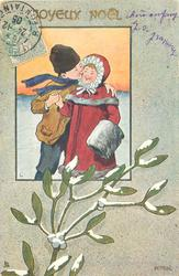 inset of night winter scene, boy kisses girl in snow, snow on mistletoe below