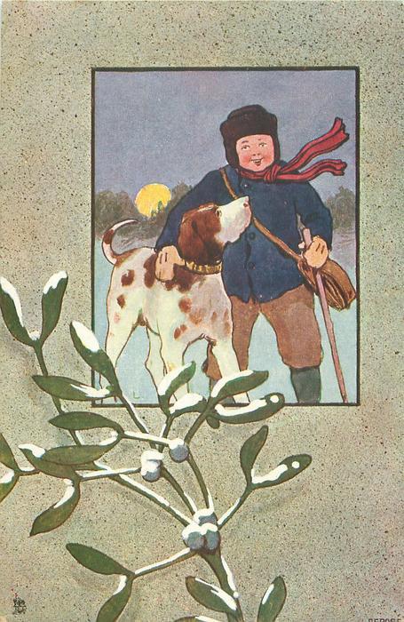 inset of night winter scene, boy with arm on hound  in snow, moon behind, snow on mistletoe below