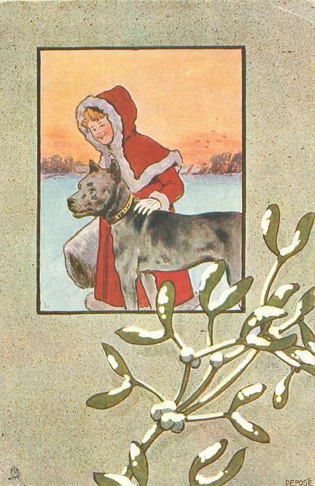 inset of night winter scene, girl with hand on hound  in snow, orange-red sky behind, snow on mistletoe below