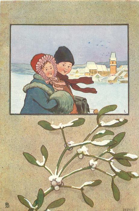 inset of day winter scene, boy & girl in snow, village behind right, snow on mistletoe below