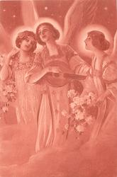 angel, with two attending angels, plays mandolin, all sing, starry sky